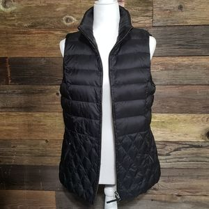 Talbots Black Diamond Quilted Down Filled Vest